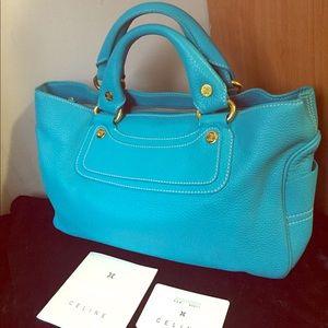 Auth Celine Dion soft Calfskin leather suede purse